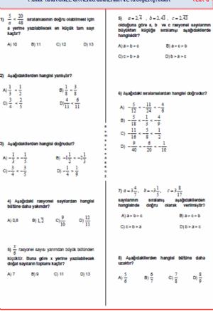7 Sınıf Matematik Rasyonel Sayılarda Sıralama Ve Karşılaştırma