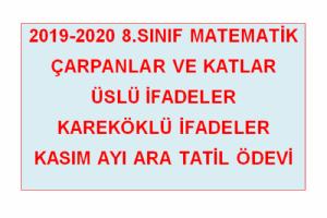 2019 2020 8 Sinif Matematik Kasim Ayi Ara Tatil Odevi Ramazan